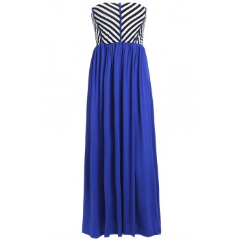 Alluring Striped Strapless Women's Maxi Dress
