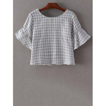 Trendy Flare Sleeve Round Neck Checked T-Shirt For Women