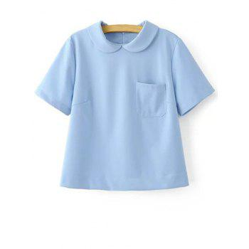 Trendy Peter Pan Collar Short Sleeve Pocket Solid Color T-Shirt For Women