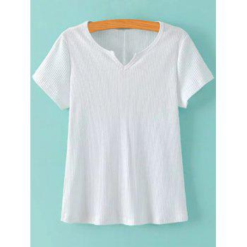 V Neck Short Sleeve Ribbed Solid Color T Shirt