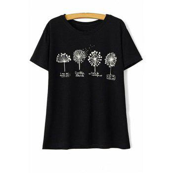 Stylish Round Neck Short Sleeve Dandelion Print Women's T-Shirt