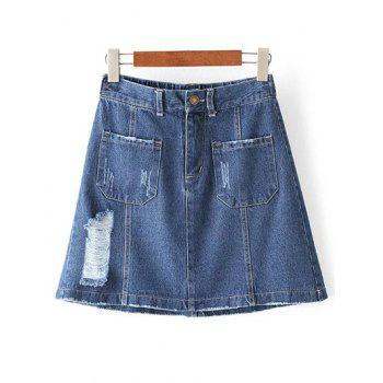 Fashion Pockets Ripped Denim A Line Skirt For Women