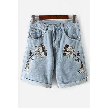 Stylish High Waisted Floral Embroidery Denim Shorts For Women