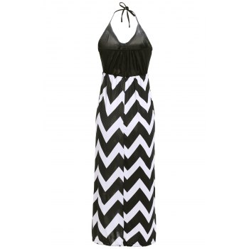 Bohemian Style Women's Halter Neck Zig Zag Print Dress - BLACK M