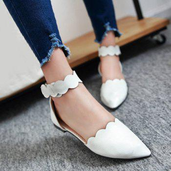 Simple Solid Color and Cut Out Design Women's Flat Shoes - WHITE WHITE