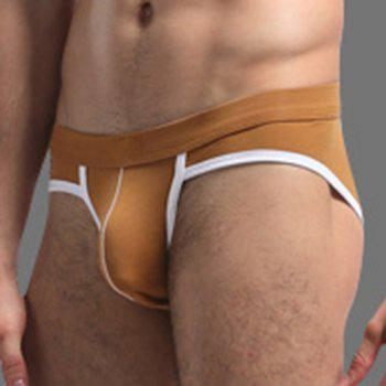 Color Block U Pouch Men's Elastic Waist Briefs - EARTHY L