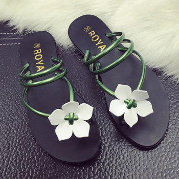 Concise Flat Heel and Flower Design Women's Slippers - GREEN 38