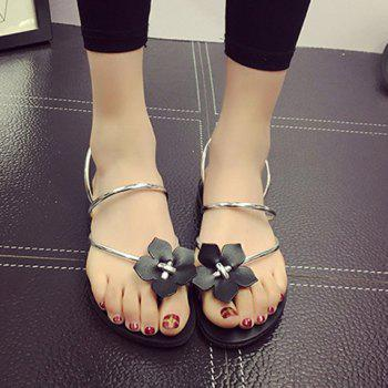 Concise Flat Heel and Flower Design Women's Slippers - SILVER SILVER