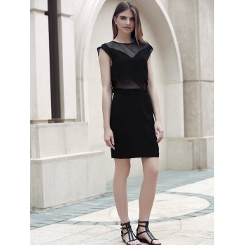 Col rond Trendy Voile Spliced See-Through Dress - Noir S