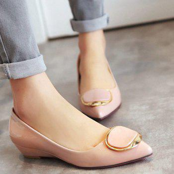 Sweet Metal and Patent Leather Design Women's Wedge Shoes - APRICOT APRICOT