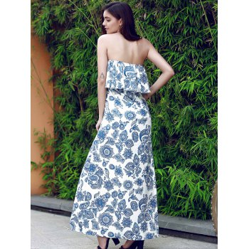 Vintage Strapless Flounce Patterned Maxi Dress For Women - Bleu S