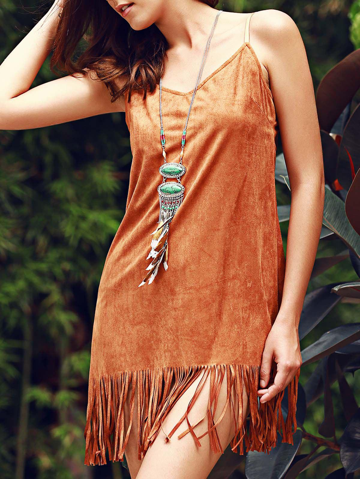 Stylish Women's Fringed Suede Cami Dress - BROWN XL