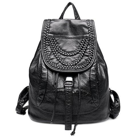 Fashion Drawstring and Weaving Design Women's Satchel - BLACK