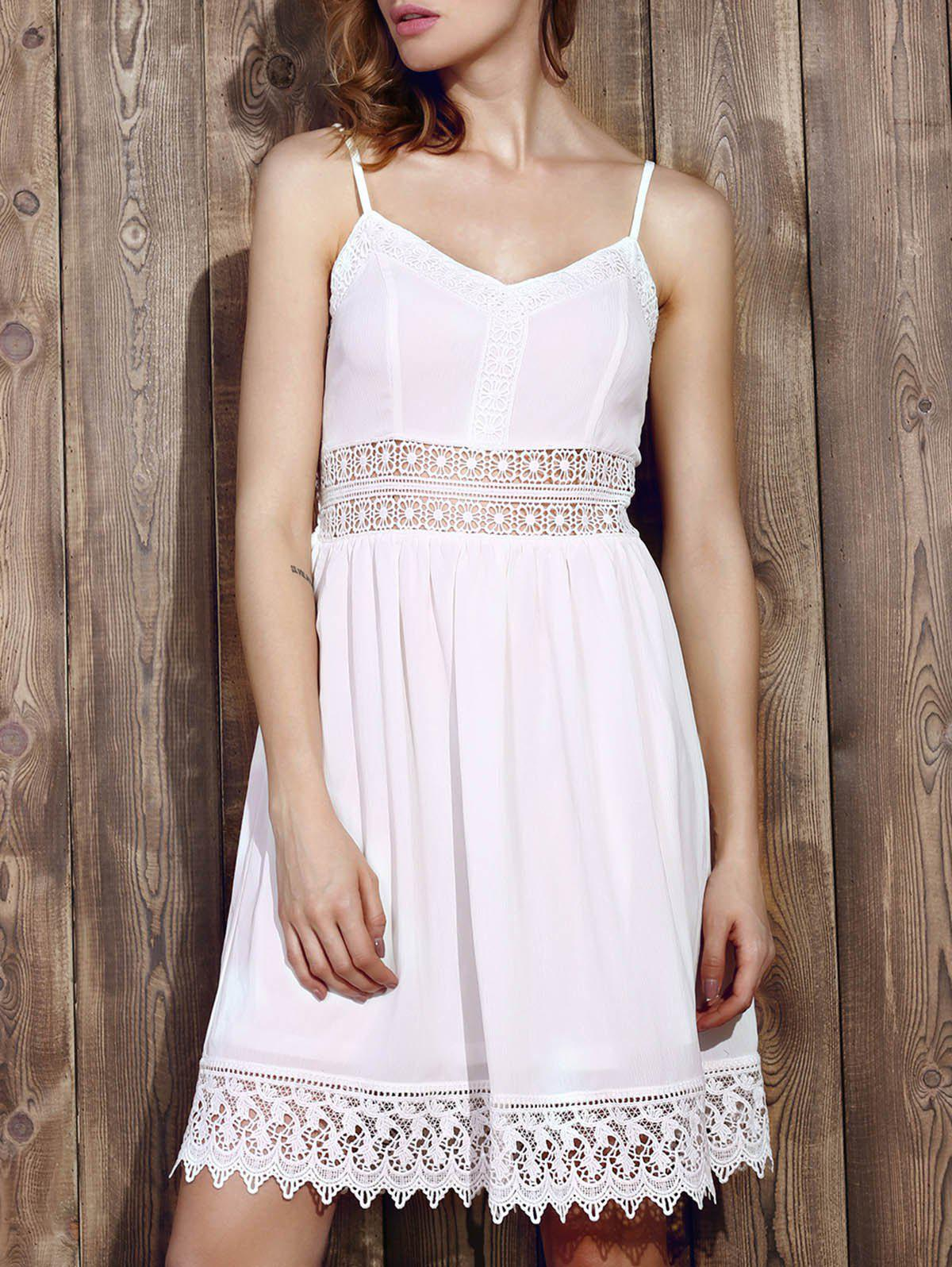 Casual Women's Strappy Lace Splicing Flare Dress - WHITE S