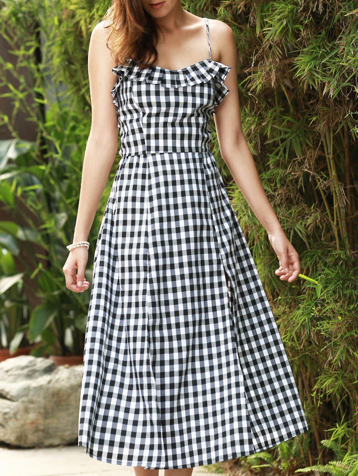 Sexy Women's Strappy Gingham Ruffle Midi Dress - WHITE/BLACK S
