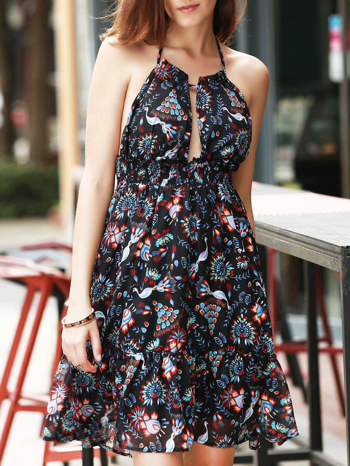 Stylish Women's Halter Print Backless Dress - BLACK S