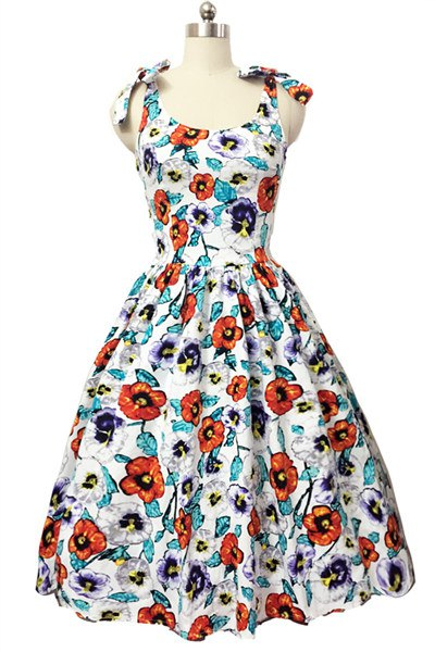 Fresh Style Scoop Neck Sleeveless Flower Pattern Self Tie Bowknot Women's Dress