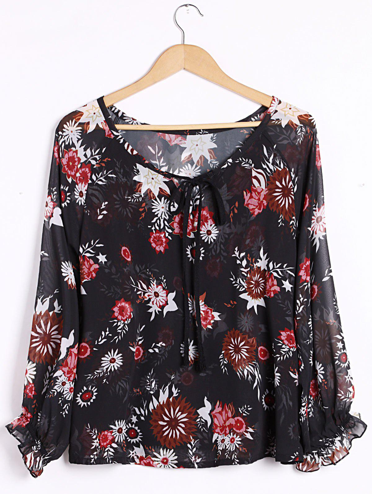 Sexy Women's Plunging Neck Long Sleeve Floral Print Blouse - BLACK XL