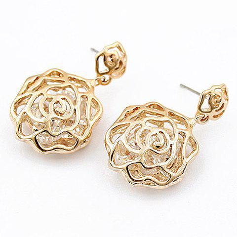Pair of Hollow Out Rhinestone Floral Earrings - GOLDEN