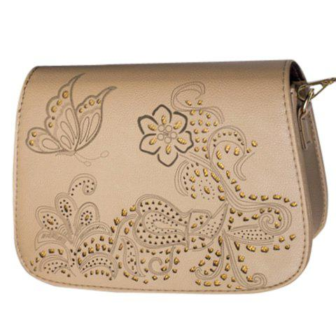 Vintage Engraving and Hollow Out Design Women's Crossbody Bag - BROWN