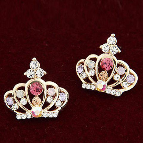 Pair of Crown Rhinestone Stud Earrings - GOLDEN