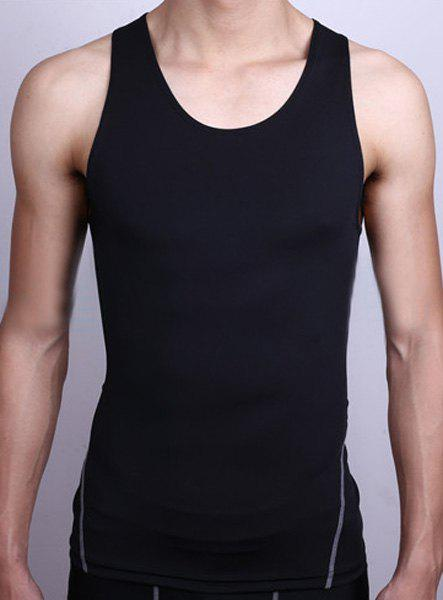 Brief Men's Round Neck Slimming Quick-Dry Stretchy Tank Top - S BLACK