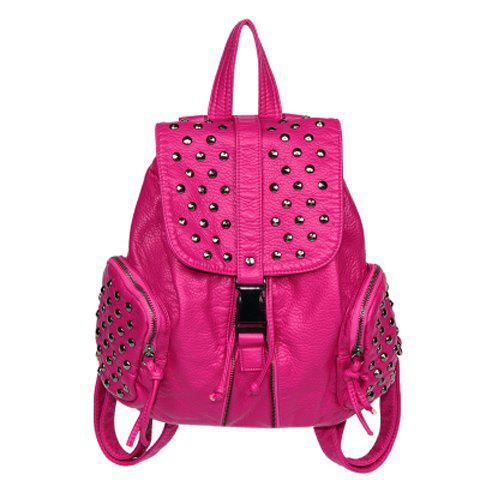 Preppy Style Solid Color and Rivets Design Women's Satchel - ROSE