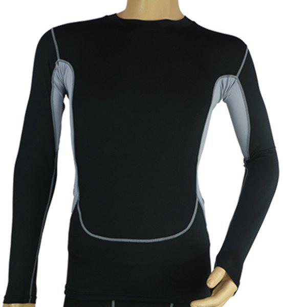 Active Men's Round Neck Patchwork Slimming Quick-Dry Long Sleeve T-Shirt - BLACK 3XL