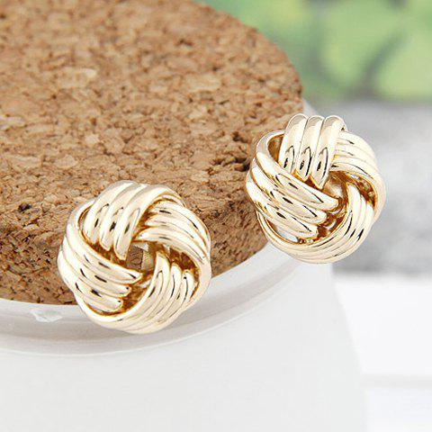Pair of Vintage Alloy Circle Earrings For Women - GOLDEN