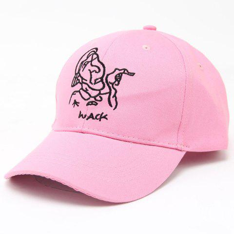 Chic Cartoon Man and Chinese Characters Embroidery Women's Baseball Cap - PINK