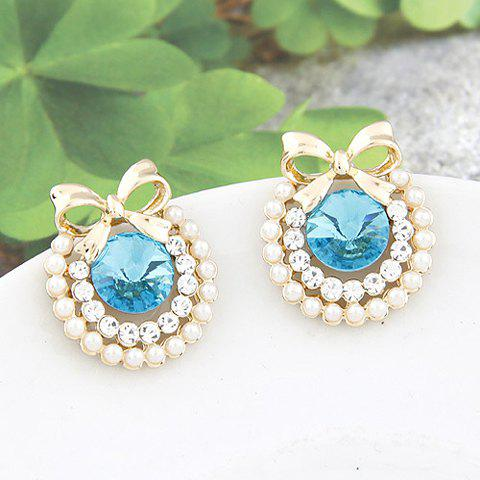 Fake Pearl Rhinestone Bowknot Earrings - BLUE