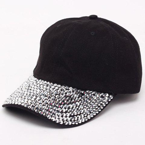 Chic Fulled Rhinestones Brim Solid Color Women's Baseball Cap - BLACK