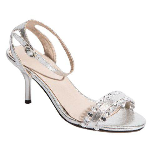 Fashionable Transparent Plastic and Rhinestones Design Women's Sandals - SILVER 38