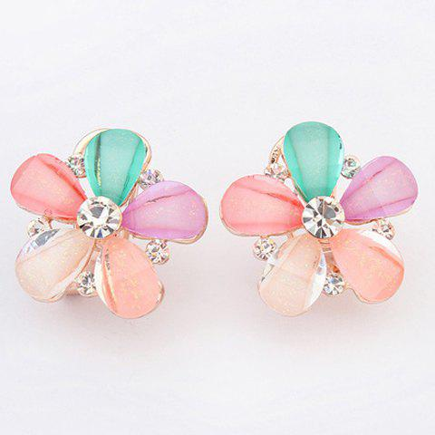 Pair of Floral Rhinestone Hollow Out Earrings - COLORMIX