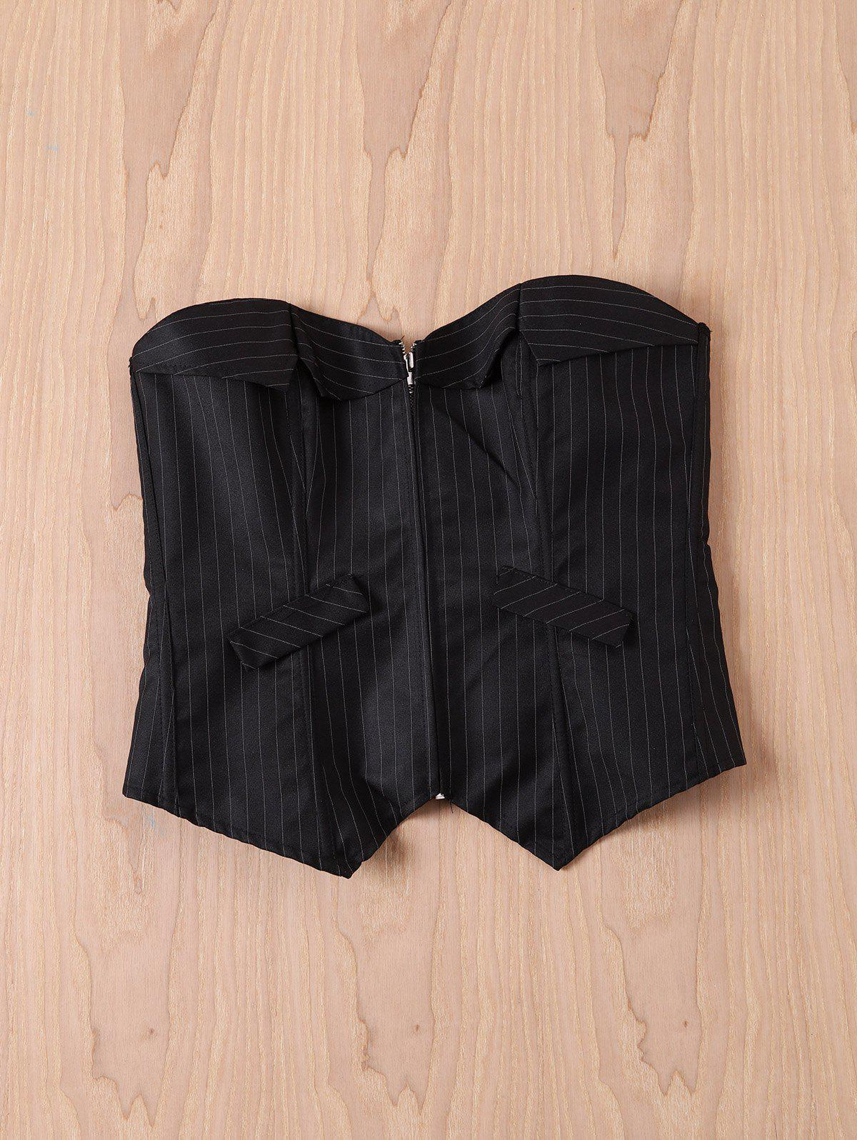 Sexy Back Lace-Up Striped Zippered Corset For Women - BLACK S