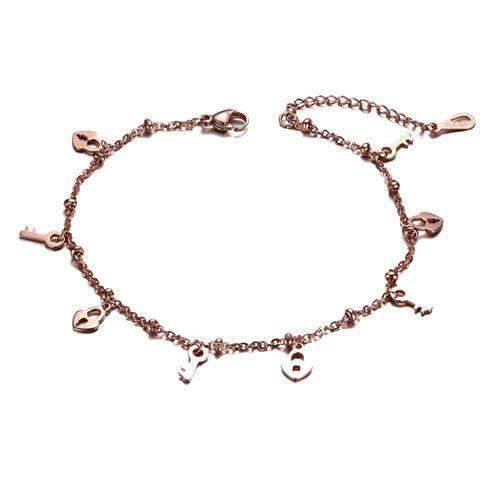 Fresh Heart Lock Key Anklet For Women - ROSE GOLD