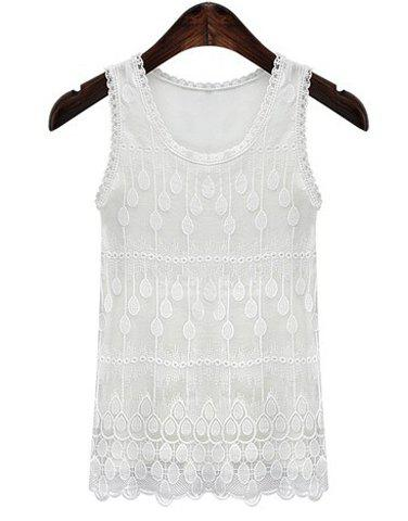 Simple Style Plus Size Jewel Neck Lace Splicing Pure Color Tank Top For Women - WHITE XL