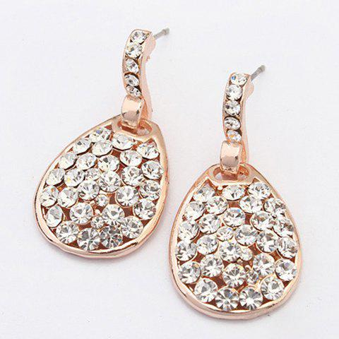 Pair of Water Drop Rhinestoned Earrings - GOLDEN