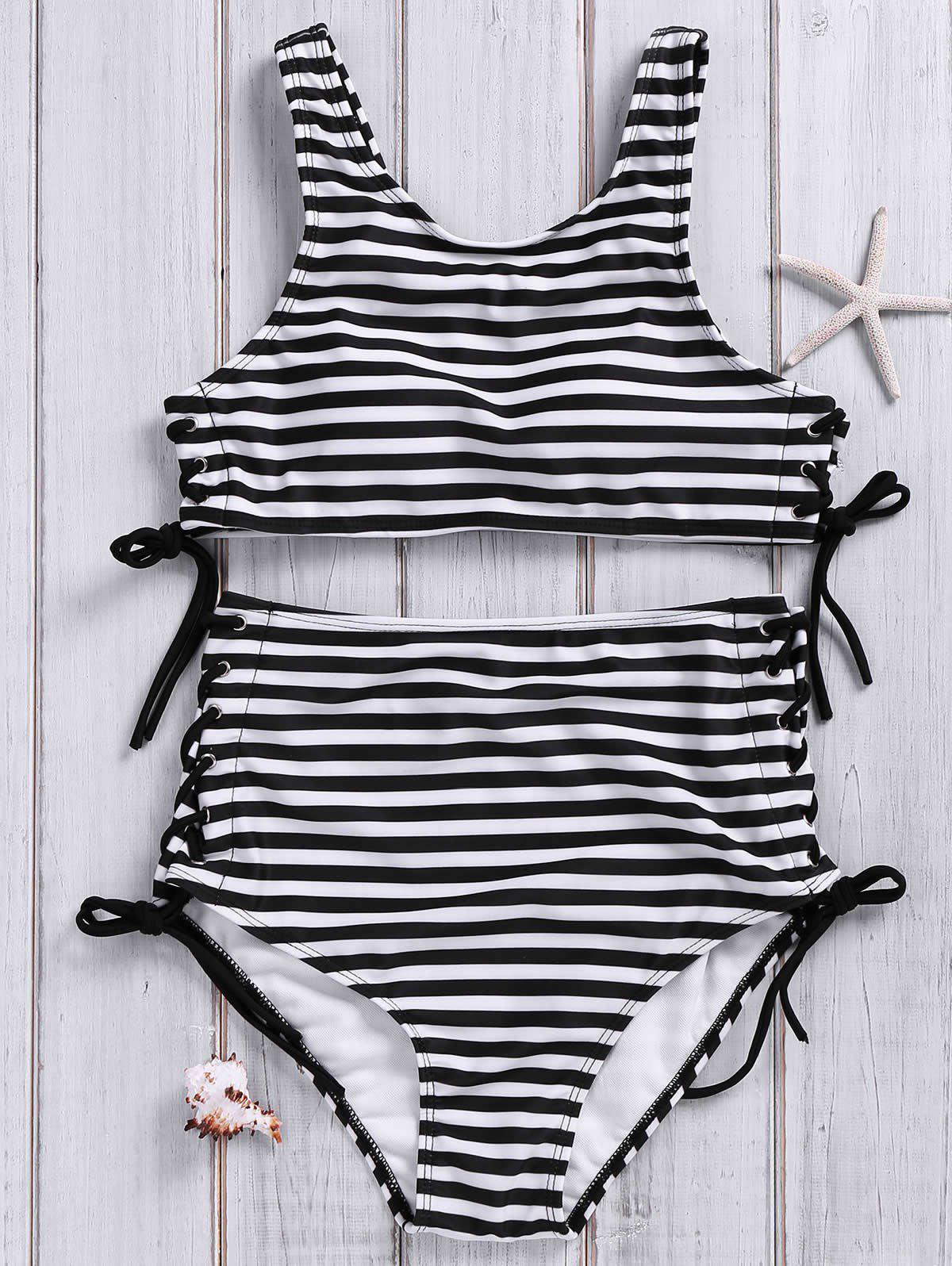 Stylish High Neck Striped Lace-Up Women's Swimsuit