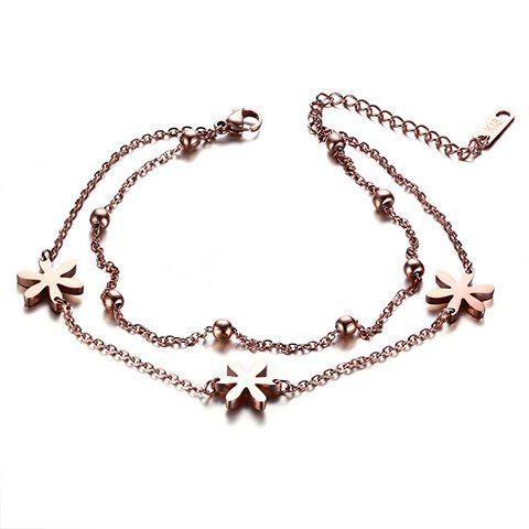 Fresh Multilayer Flower Bead Anklet For Women - ROSE GOLD