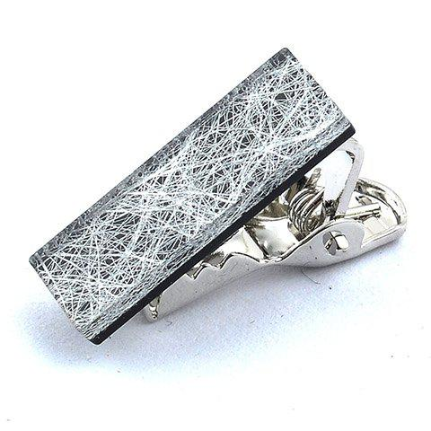 Stylish Silver Thread Inlay Rectangle Embellished Men's Alloy Tie Clip