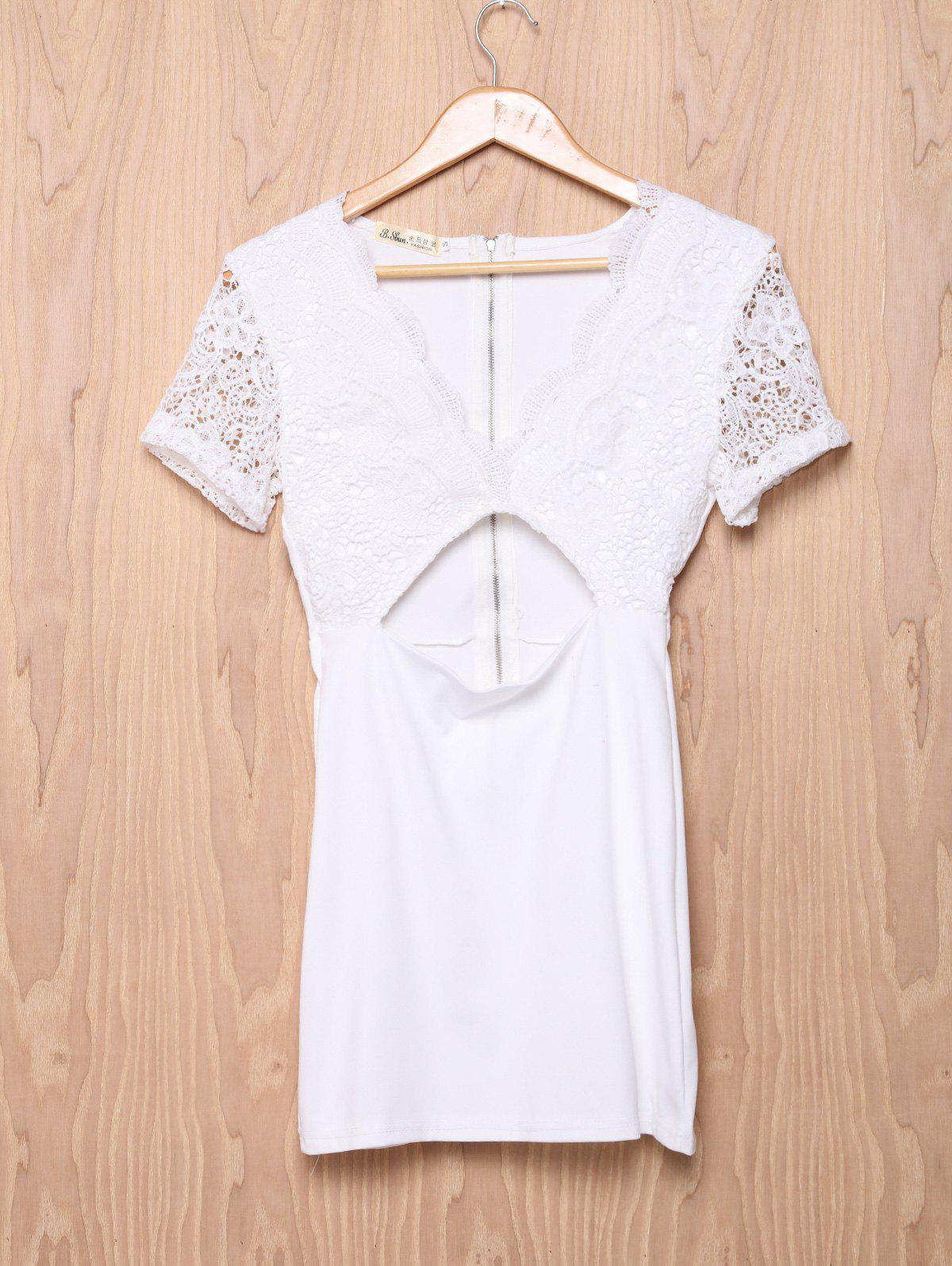 Elegant Low-Cut Short Sleeve Hollow Out Women's Bodycon Dress - WHITE M