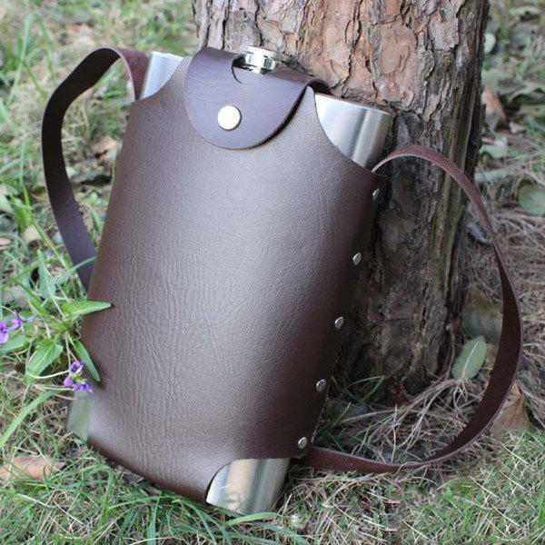 Portable Stainless Steel 64oz Water-Tight Alcohol Flagon + Faux Leather Case - BROWN