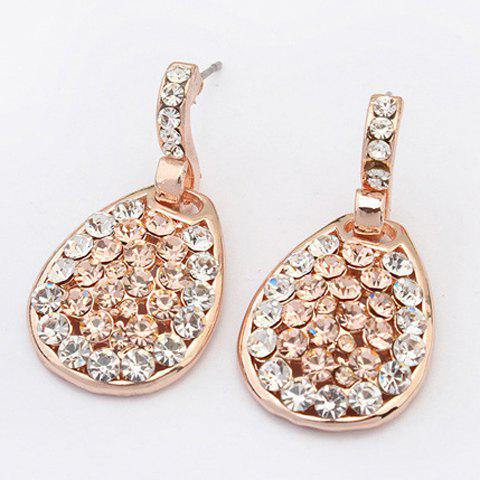 Teardrop Rhinestone Embellished Drop Earrings - GOLDEN