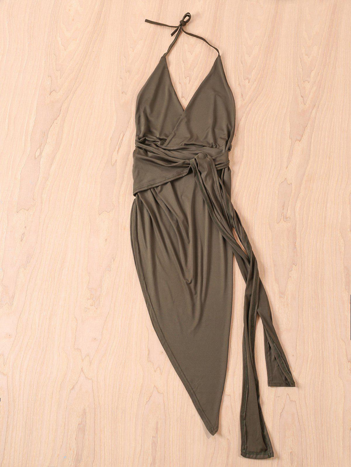 Sexy Women's Halter Solid Color Asymmetrical Dress - GREEN M