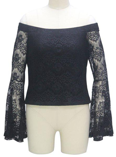 Stylish Women's Off The Shoulder Bell Sleeve Lace Blouse - BLACK M