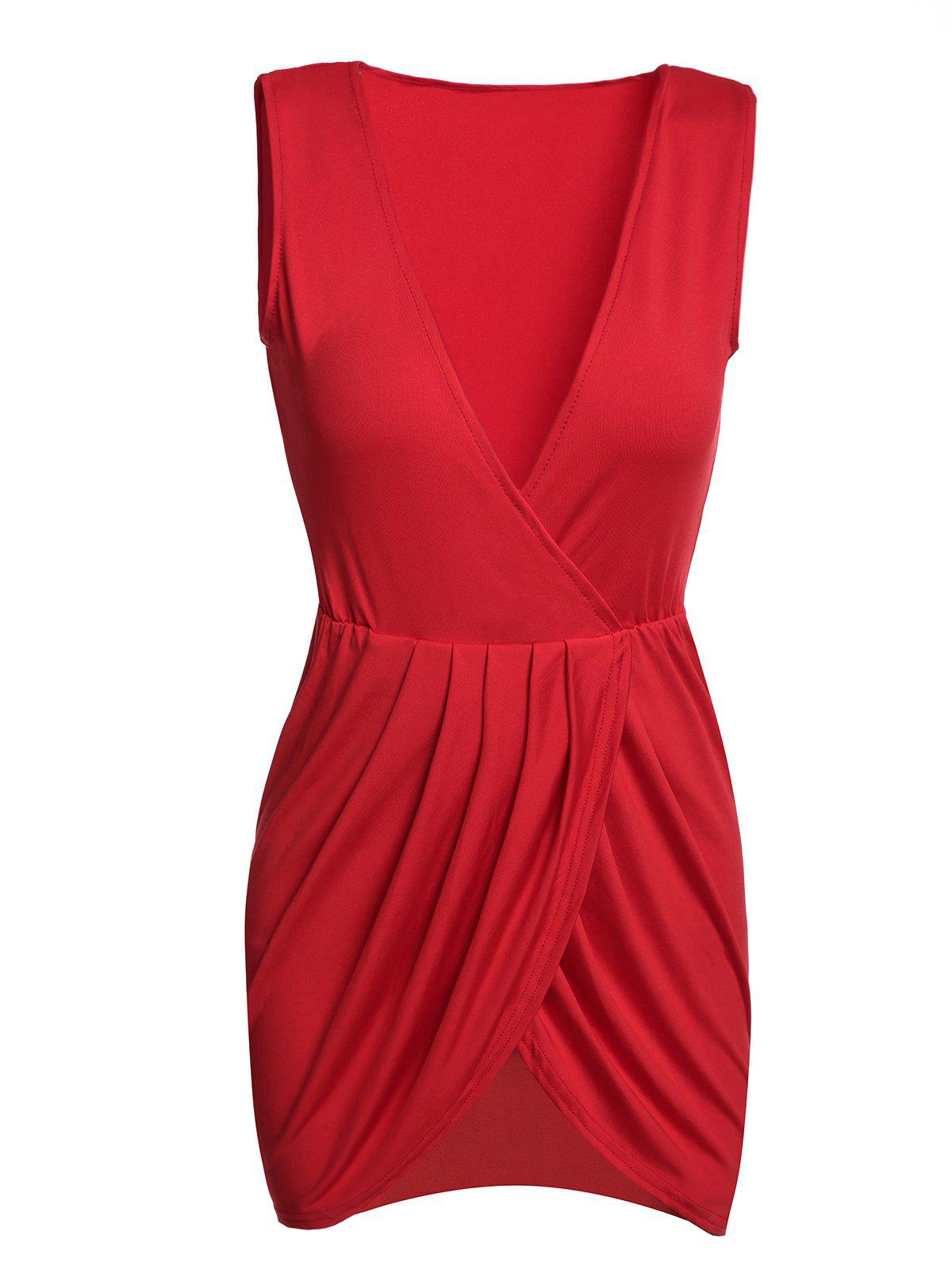 Sexy Women's Plunging Neck Sleeveless Solid Color Mini Dress - RED L