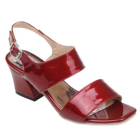 Elegant Solid Color and Square Toe Design Women's Sandals - WINE RED 38