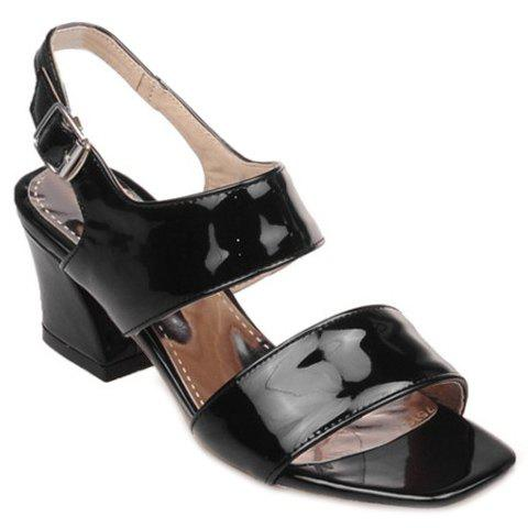 Square Toe Two Strap Sandals - BLACK 35