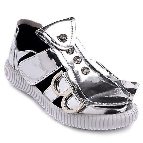 Simple  and Metal Design Women's Sandals - SILVER 37